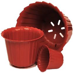 Горшок для цветов ТЮЛЬПАН 0,6л-10л. с блюдцем диаметр 13-31см. белый, теракотовый