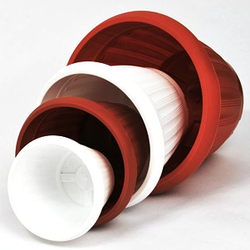 Горшок для цветов БУТОН 0,8л-20л. с блюдцем диаметр 13-40см. белый, теракотовый