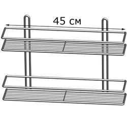 Полка прямоугольная 2-ярусная, 2-х контурная металл