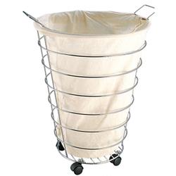 Корзина для белья тканевая металл на колесиках 49*35см.