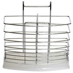 0195 Подставка навесная для ложек и вилок 17*6.5*15.5см из хромированной стали с поддоном