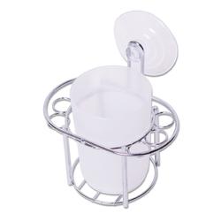 0236 Стакан для зубных щеток 13*12*8см пластиковый с хромированной подставкой
