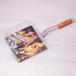 0704 Решетка для гриля Глубокая 31*25*5.5см с деревянной ручкой