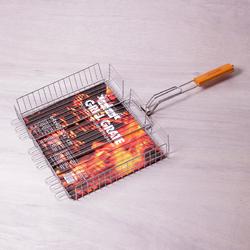 0706 Решетка для гриля Глубокая 40*30*7см с деревянной ручкой