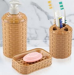 Набор для ванной комнаты Ротанг (подставка, дозатор, мыльница) VIOLET HOUSE
