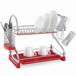 0762C Сушилка для посуды двухъярусная 55*24,5*37см. из хромированной стали с поддоном (красный)