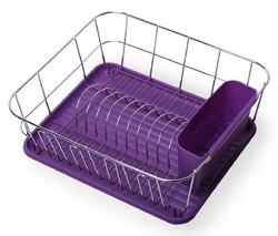 0763C Сушилка для посуды 37*33*13,5см. из хромированной стали с поддоном (фиолетовый)