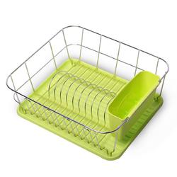 0763A Сушилка для посуды 37*33*13,5см. из хромированной стали с поддоном (зеленый)
