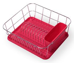 0763B Сушилка для посуды 37*33*13,5см. из хромированной стали с поддоном (красный)
