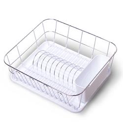 0763D Сушилка для посуды 37*33*13,5см. из хромированной стали с поддоном (белый)