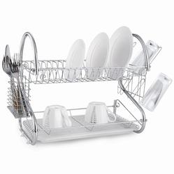 0764 Сушилка для посуды двухъярусная 55*24,5*36см из хромированной стали