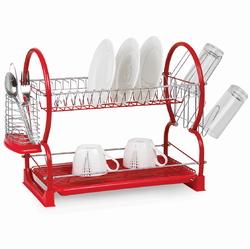 0765A Сушилка для посуды двухъярусная 55*24,5*37см (красная)