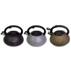 0855 Чайник 3л из нержавеющей стали со свистком и бакелитовой ручкой (коричневый, серый, черный)