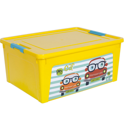 123096/3 Контейнер Smart Box декором My Car 7,9л. (т.жёлт.-т.жёлт.-бирюз.)