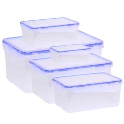 НАБОР Контейнеров 5 шт. для пищевых продуктов прямоугольных с зажимом