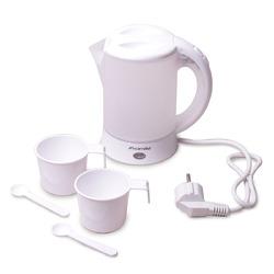 1718A Чайник 0.6л электрический пластиковый, белый-матовый c чашками и ложками