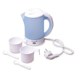 1718B Чайник 0.6л электрический пластиковый,белый-голубой c чашками и ложками