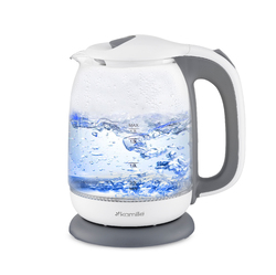 1720G Чайник 1,7л электрический из боросиликатного стекла, бело-серый