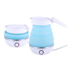 1724 Чайник электрический силиконовый 0,8л., голубой с белым