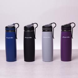 2058 Бутылка спортивная 500мл из нержавеющей стали с трубочкой и клипсой (черн.,голуб.,серый, фиолетовый)