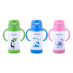 2085 Термос для детей 350мл. с ручками (розовый, зелёный, синий)