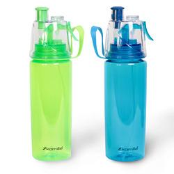 2301 Бутылка спортивная для воды с пульверизатором 570мл из пластика (тритан) (зелёный, голубой)