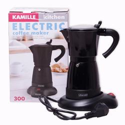 2600 Кофеварка гейзерная электрическая 300мл (6 порций) из алюминия, /чёрная/
