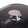 """4406 Кастрюля 28*12,5cm из литого алюминия с антипригарным покрытием """"чёрный мрамор"""" и стеклянной крышкой"""
