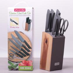 5044 Набор кухонных ножей и ножницы на деревянной подставке 7 предметов (5 ножей+ножницы+подставка)