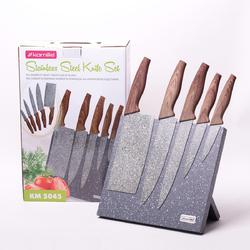 5045 Набор ножей 6 предметов из нержавеющей стали на подставке с мраморным покрытием (5 ножей+подставка)