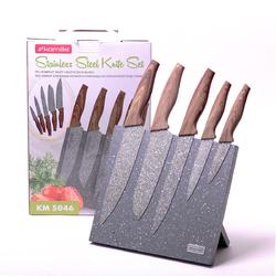 5046 Набор ножей 6 предметов из нержавеющей стали на подставке с мраморным покрытием (5 ножей+подставка)