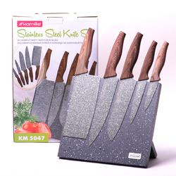 5047 Набор ножей 6 предметов из нержавеющей стали на подставке с мраморным покрытием (5 ножей+подставка)