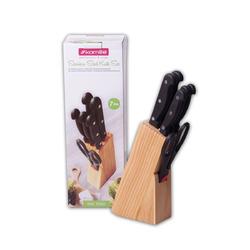 5122 Набор ножей 7 предметов из нержавеющей стали с бакелитовыми ручками и деревянной подставкой