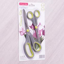 5180 Набор ножниц универсальных 2пр. из нержавеющей стали с пластиковыми ручками (14см; 21.5см)