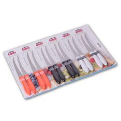 5313 Ножи 12пр. на блистере из нержавеющей стали с пластиковыми ручками