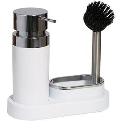 Кухонный диспенсер для моющего средства PRIMA NOVA на подставке с губкой и щеткой (белый)
