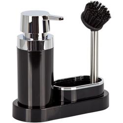 Кухонный диспенсер для моющего средства PRIMA NOVA на подставке с губкой и щеткой (черный)
