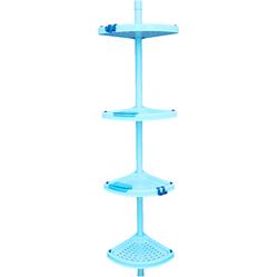 Угловая полка PRIMA NOVA 4-х ярусная, телескопическая пластиковая трубка 130-260см, полки 25*25см, 2 крючка, 2 мыльницы (голубая)