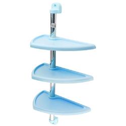 Полка настенная PRIMA NOVA 3-х ярусная, алюминиевая трубка 63см, 3 полки 27,7*16 см. (голубая)