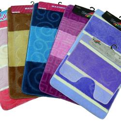 Набор ковриков для ванной и туалета, 2шт., на резиновой основе 60*100см. Турция